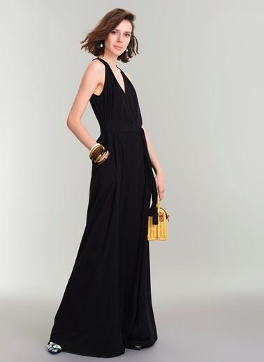 People By Fabrika Kuşaklı Uzun Elbise Siyah